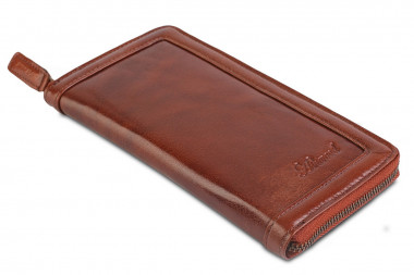 Мужской клатч Ashwood Leather Travel Wallet ALTW/108 Chestnut Brown — 2chemodana