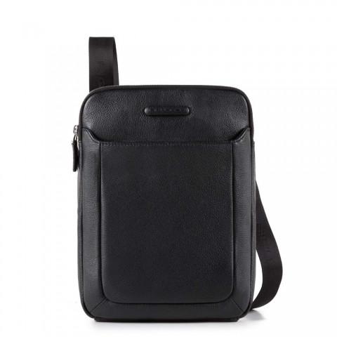 18525552f922 Мужская кожаная сумка Piquadro CA3978MO/N черная, Два отделения на ...