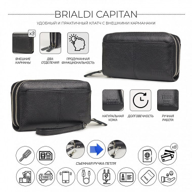 Мужской кожаный клатч BRIALDI Capitan BR32911NM relief black — 2chemodana