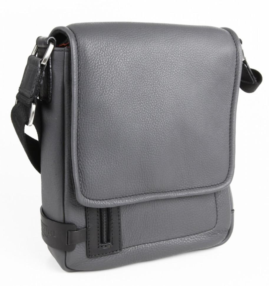 df46f78ad149 Кожаная мужская сумка через плечо Chiarugi 72658 серый фото 1 — 2chemodana